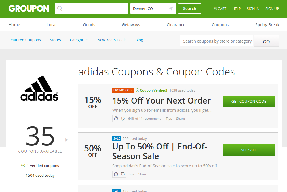 Check out Groupon for big savings on Adidas footwear